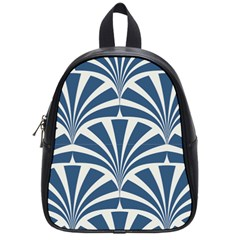 Teal,white,art Deco,pattern School Bag (small) by 8fugoso