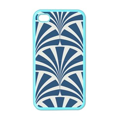 Teal,white,art Deco,pattern Apple Iphone 4 Case (color) by 8fugoso