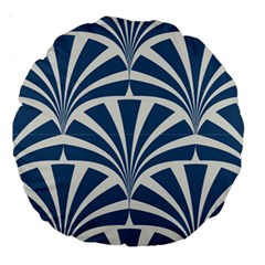 Teal,white,art Deco,pattern Large 18  Premium Round Cushions by 8fugoso