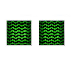 Chevron3 Black Marble & Green Brushed Metal Cufflinks (square) by trendistuff