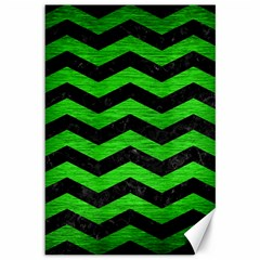 Chevron3 Black Marble & Green Brushed Metal Canvas 12  X 18   by trendistuff
