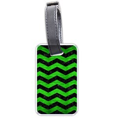 Chevron3 Black Marble & Green Brushed Metal Luggage Tags (one Side)  by trendistuff