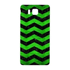 Chevron3 Black Marble & Green Brushed Metal Samsung Galaxy Alpha Hardshell Back Case by trendistuff