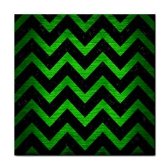 Chevron9 Black Marble & Green Brushed Metal Face Towel