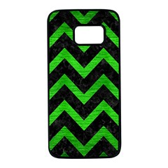 Chevron9 Black Marble & Green Brushed Metal Samsung Galaxy S7 Black Seamless Case by trendistuff