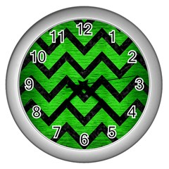 Chevron9 Black Marble & Green Brushed Metal (r) Wall Clocks (silver)  by trendistuff