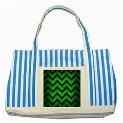 Chevron9 Black Marble & Green Brushed Metal (r) Striped Blue Tote Bag by trendistuff