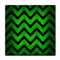 Chevron9 Black Marble & Green Brushed Metal (r) Face Towel by trendistuff