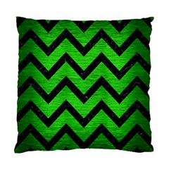 Chevron9 Black Marble & Green Brushed Metal (r) Standard Cushion Case (one Side) by trendistuff