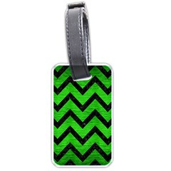 Chevron9 Black Marble & Green Brushed Metal (r) Luggage Tags (one Side)  by trendistuff