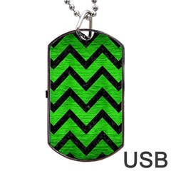 Chevron9 Black Marble & Green Brushed Metal (r) Dog Tag Usb Flash (two Sides) by trendistuff