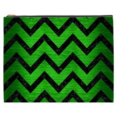 Chevron9 Black Marble & Green Brushed Metal (r) Cosmetic Bag (xxxl)  by trendistuff