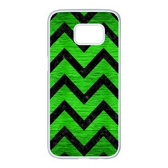 Chevron9 Black Marble & Green Brushed Metal (r) Samsung Galaxy S7 Edge White Seamless Case by trendistuff