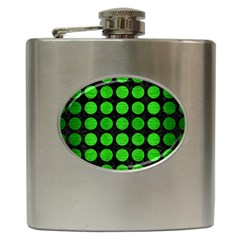 Circles1 Black Marble & Green Brushed Metal Hip Flask (6 Oz) by trendistuff