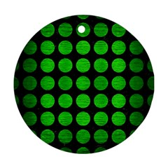 Circles1 Black Marble & Green Brushed Metal Round Ornament (two Sides) by trendistuff