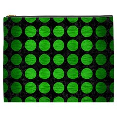 Circles1 Black Marble & Green Brushed Metal Cosmetic Bag (xxxl)  by trendistuff