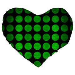 Circles1 Black Marble & Green Brushed Metal Large 19  Premium Heart Shape Cushions by trendistuff