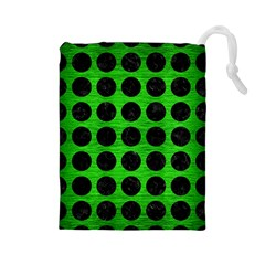 Circles1 Black Marble & Green Brushed Metal (r) Drawstring Pouches (large)  by trendistuff