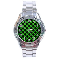 Circles2 Black Marble & Green Brushed Metal (r) Stainless Steel Analogue Watch by trendistuff