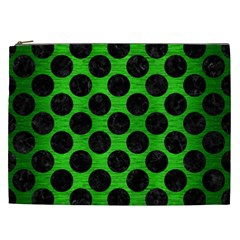 Circles2 Black Marble & Green Brushed Metal (r) Cosmetic Bag (xxl)  by trendistuff