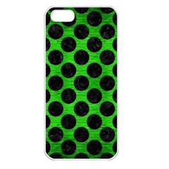 Circles2 Black Marble & Green Brushed Metal (r) Apple Iphone 5 Seamless Case (white)