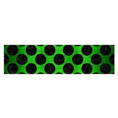 Circles2 Black Marble & Green Brushed Metal (r) Satin Scarf (oblong) by trendistuff