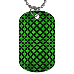 Circles3 Black Marble & Green Brushed Metal (r) Dog Tag (one Side) by trendistuff