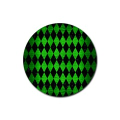 Diamond1 Black Marble & Green Brushed Metal Rubber Coaster (round)  by trendistuff