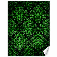 Damask1 Black Marble & Green Brushed Metal Canvas 36  X 48   by trendistuff