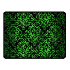 Damask1 Black Marble & Green Brushed Metal Double Sided Fleece Blanket (small)  by trendistuff