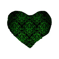 Damask1 Black Marble & Green Brushed Metal Standard 16  Premium Flano Heart Shape Cushions by trendistuff