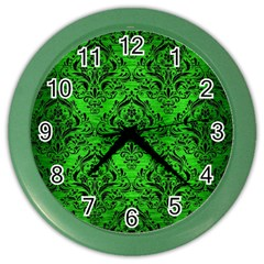 Damask1 Black Marble & Green Brushed Metal (r) Color Wall Clocks by trendistuff