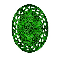 Damask1 Black Marble & Green Brushed Metal (r) Ornament (oval Filigree) by trendistuff