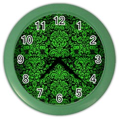 Damask2 Black Marble & Green Brushed Metal Color Wall Clocks by trendistuff