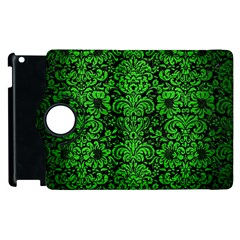 Damask2 Black Marble & Green Brushed Metal Apple Ipad 2 Flip 360 Case by trendistuff