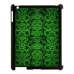 Damask2 Black Marble & Green Brushed Metal Apple Ipad 3/4 Case (black) by trendistuff