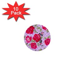 Shabby Chic,pink,roses,polka Dots 1  Mini Buttons (10 Pack)  by 8fugoso