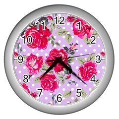 Shabby Chic,pink,roses,polka Dots Wall Clocks (silver)  by 8fugoso