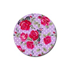 Shabby Chic,pink,roses,polka Dots Rubber Coaster (round)  by 8fugoso
