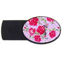 Shabby Chic,pink,roses,polka Dots Usb Flash Drive Oval (4 Gb)