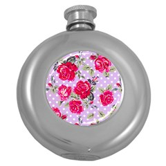 Shabby Chic,pink,roses,polka Dots Round Hip Flask (5 Oz) by 8fugoso
