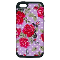 Shabby Chic,pink,roses,polka Dots Apple Iphone 5 Hardshell Case (pc+silicone) by 8fugoso