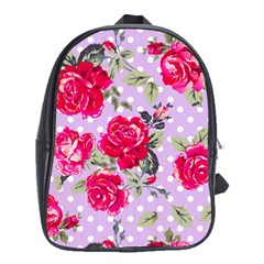 Shabby Chic,pink,roses,polka Dots School Bag (xl) by 8fugoso