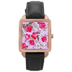 Shabby Chic,pink,roses,polka Dots Rose Gold Leather Watch  by 8fugoso