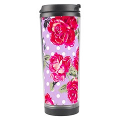 Shabby Chic,pink,roses,polka Dots Travel Tumbler by 8fugoso