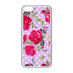 Shabby Chic,pink,roses,polka Dots Apple Iphone 5c Seamless Case (white) by 8fugoso