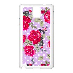 Shabby Chic,pink,roses,polka Dots Samsung Galaxy Note 3 N9005 Case (white) by 8fugoso