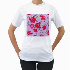 Shabby Chic,pink,roses,polka Dots Women s T Shirt (white)  by 8fugoso