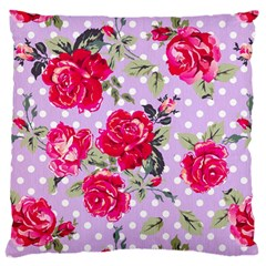 Shabby Chic,pink,roses,polka Dots Standard Flano Cushion Case (two Sides) by 8fugoso