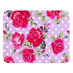 Shabby Chic,pink,roses,polka Dots Double Sided Flano Blanket (large)  by 8fugoso